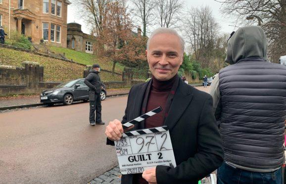 Mark Bonnar filming for Guilt in Glasgow