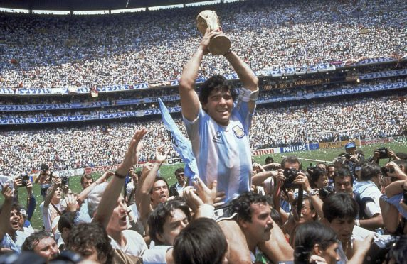 Diego Maradona lifts the World Cup in 1986