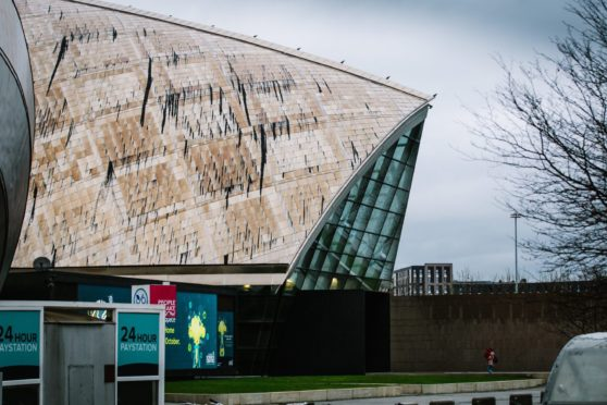 Glasgow Science Centre looking stained and weather-beaten last week