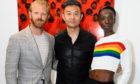 Eunice Olumide with photographer Alistair Guy (left) and artist Liu Bolin