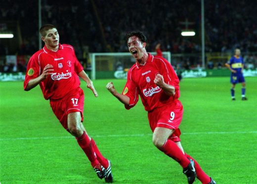 Gerrard and Fowler in action for Liverpool in the 2001 UEFA Cup final