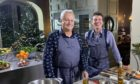 Nick Nairn and Dougie Vipond in the kitchen at Fasque