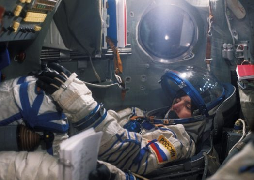 Astronaut Bonnie J Dunbar undergoes a training drill in the simulator before the                        Soyuz TM-21 mission to the Russian space station Mir in 1995.