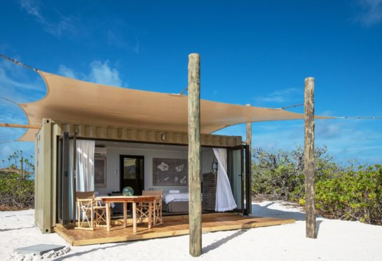 The Cosmoledo Eco Camp in the Seychelles where shipping containers are now eco pods, placed on plinths to avoid disturbing the amazing sands