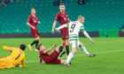 Celtic's Leigh Griffiths pulls a goal back against Sparta Prague at Celtic Park