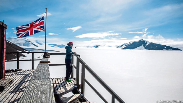 A worker on the roof of the Rothera Research Station