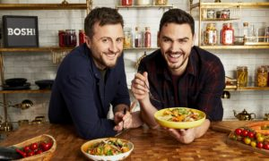 The BOSH! boys, Ian Theasby and Henry Firth, try out a selection of their super-tasty vegan dishes