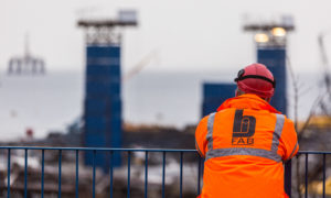 A workers looks out over the yard at BiFab in Methil