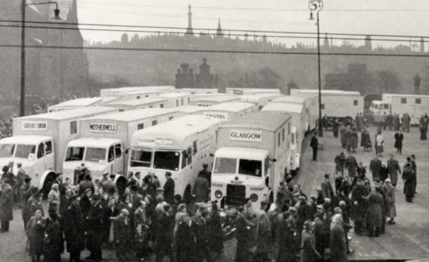 Mobile X-ray vans from all around Britain gather at the Royal Infirmary in Glasgow on March 11, 1957 as part of the drive to beat TB