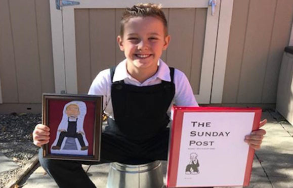 Nine-year-old Jackson with his homemade Sunday Post
