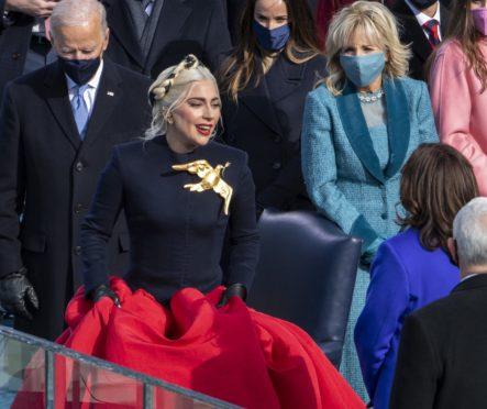 Lady Gaga performs at President Joe Biden's inauguration at the US Capitol building.