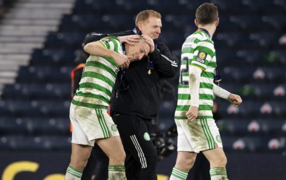 Celtic manager Neil Lennon with Scott Brown following the Scottish Cup final