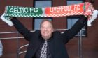 Gerry Marsden poses with a scarf ahead of Celtic's UEFA cup clash with Liverpool in 2003
