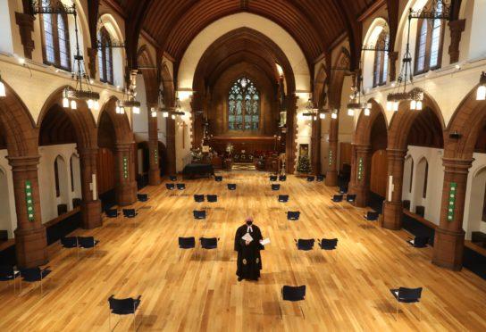 A socially distanced Christmas Day service in Morningside Parish Church, Edinburgh