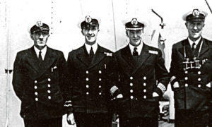 From left: Malcolm McKinnon, second mate, radio officer             David Broadfoot, captain James Ferguson and chief officer Shirley Duckels