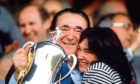 Tycoon Robert Maxwell and daughter Ghislaine celebrate victory for  Oxford United, the football club he owned, in 1986 Milk Cup Final