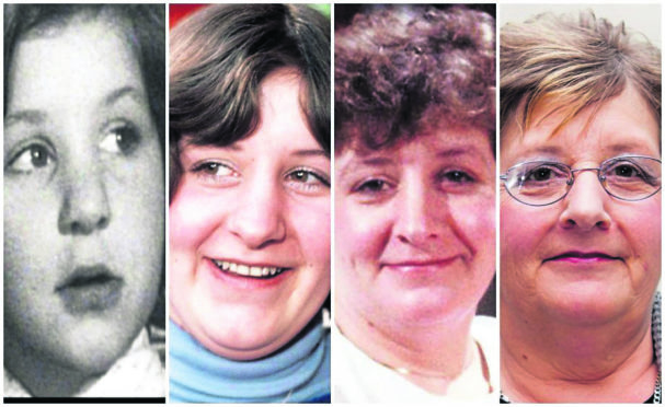 Jackie Bassett as viewers of landmark series Up have seen her aged, from left, 7, 21, 35 and 63.