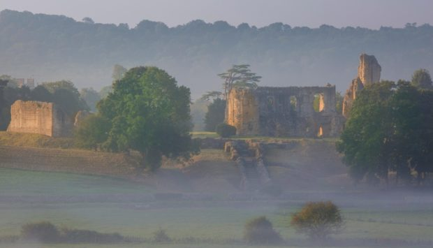 As dawn breaks Sherborne Castle, once home to Sir Walter Raleigh, is shrouded in mist, but the beauty of the countryside is still plain to see
