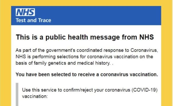 A scam email claiming to offer a vaccine appointment