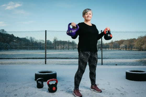 Jackie Jones trains at BodyFit camp in Pollok Park, Glasgow before the latest lockdown
