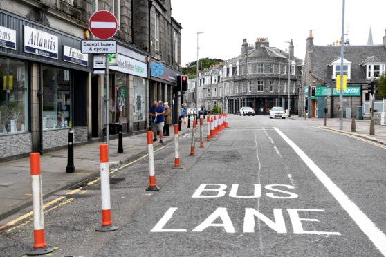 A bus lane in Aberdeen