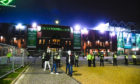 Police and barriers outside Celtic Park in December