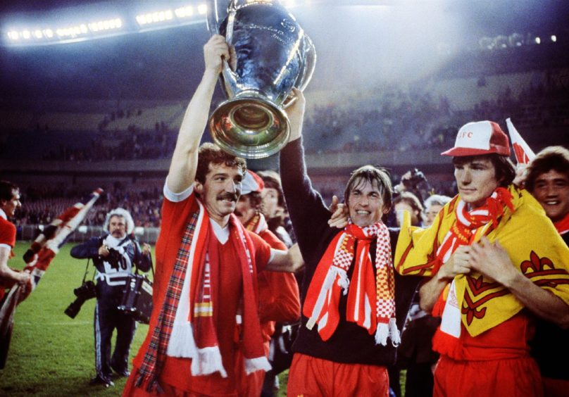 Graeme Souness and Kenny Dalglish lift the European Cup in 1981