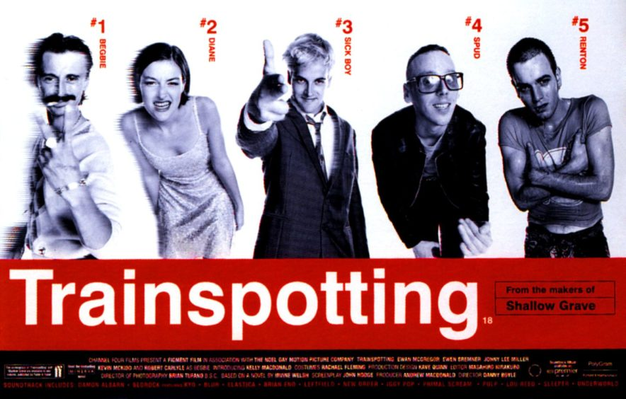 Ewan McGregor as Renton, right, in iconic cast poster for Trainspotting