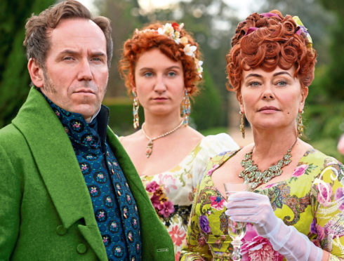 Polly Walker with Ben Miller and Bessie Carter in Bridgerton.