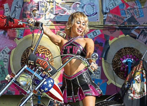 Singer Miley Cyrus at the pre-Super Bowl gig