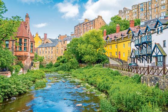 The scenic Dean Village near Leith, Edinburgh.