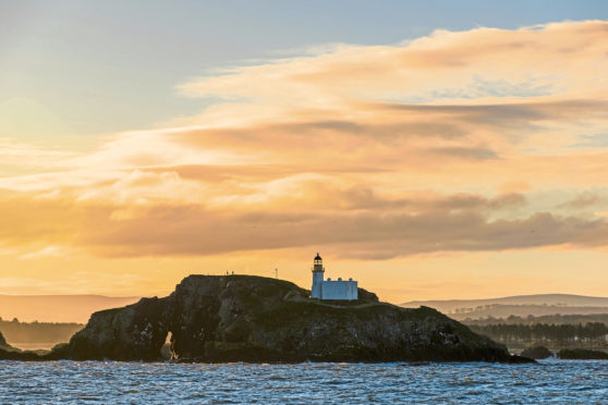 Sunrise in Scotland with a view on the Island Fidra, near  Edinburgh in the Firth of Forth.