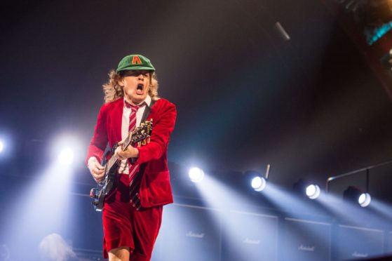 Angus Young of AC/DC on stage in Columbus, Ohio, 2016