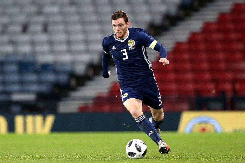 Scotland captain Andy Robertson in action