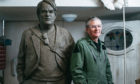 David Annand with his sculpture of actor Philip Seymour Hoffman
