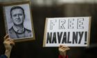 A protest against the jailing of Russian opposition leader Alexei Navalny