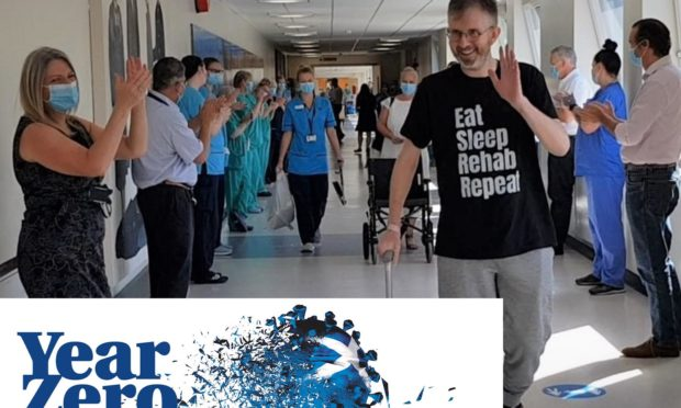 Grant McIntyre leaves Ninewells Hospital after having been in a coma for 50 days with Covid-19.