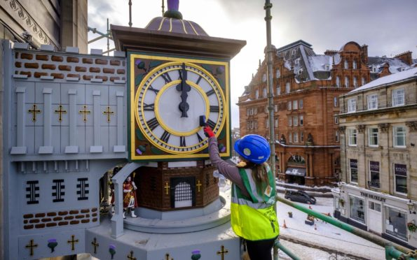 Finishing touches are put on the Binns Clock