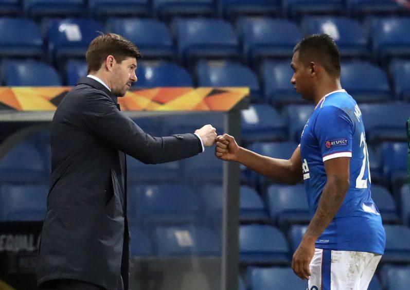 Rangers boss Steven Gerrard and striker Alfredo Morelos
