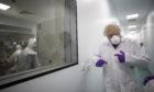 Prime Minister Boris Johnson visiting the lab in Livingston