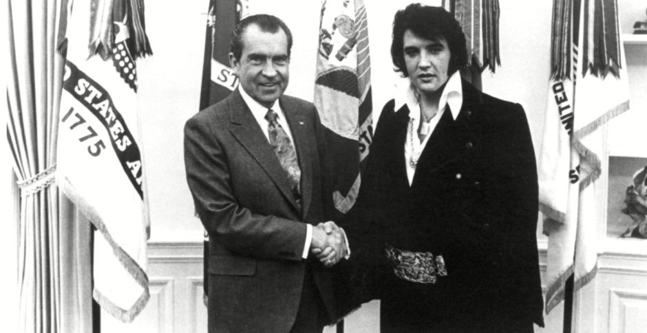 In the White House: Elvis Presley, then 35, and Richard Nixon shake in December 1970. Elvis asked to become a federal  drugs agent at large so, his wife said later, he could travel with guns and narcotics.