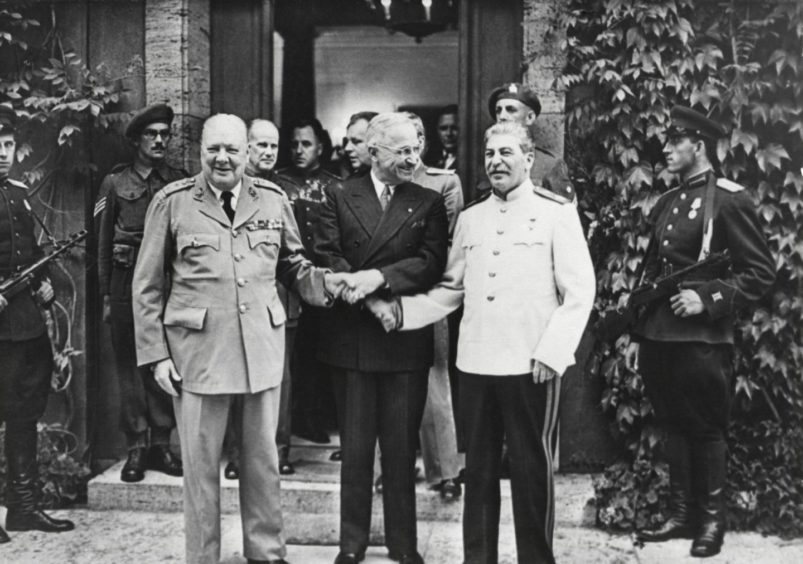 After the war: Winston Churchill, Harry Truman and Joseph Stalin at the Potsdam Conference in 1945 as they redrew Europe after the Second World War with far-reaching consequences.