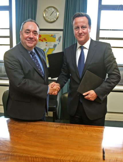 2014 and all that: Alex Salmond and David Cameron shake after reaching agreement in Edinburgh in October 2012 on arrangement for an independence poll two years later.