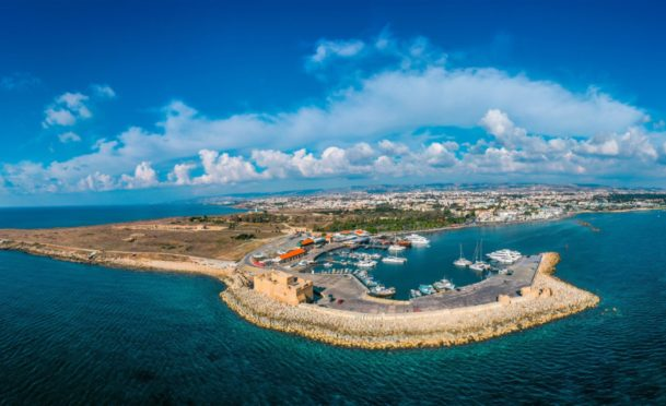 An aerial panorama of Paphos in Cyprus, where the Younies have a timeshare in the Paradise Kings Club resort