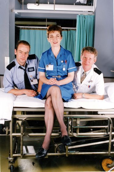 Maureen in Casualty with Robson Green and Derek Thompson, 1991