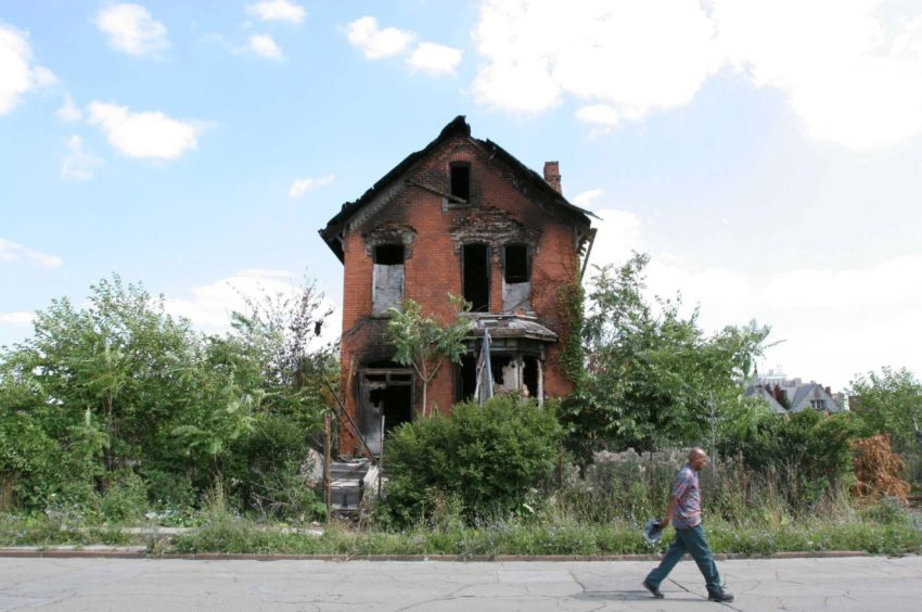 A burned-out home in Detroit