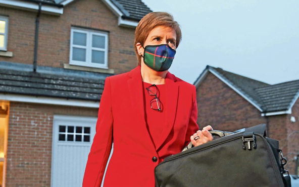 Nicola Sturgeon leaves her Glasgow home to attend the Holyrood inquiry on March 3