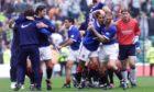 Sergio Porrini (front right) celebrates with his team-mates,