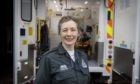 Gina Scanlan at Banff Ambulance Station, where she is training to become an ambulance technician
