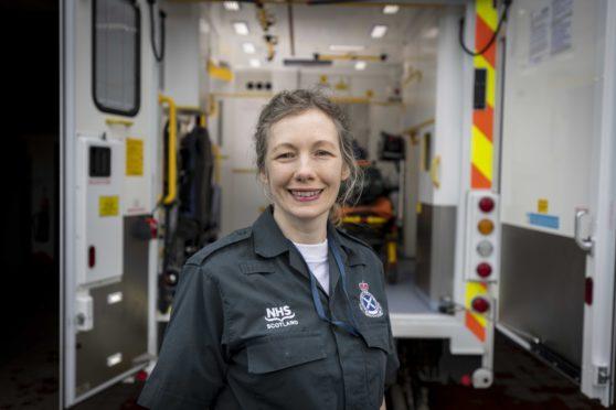 Gina Scanlan at Banff Ambulance Station, where she is training to become an ambulance technician
